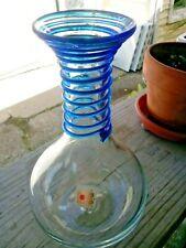 "VINTAGE BLENKO  HAND BLOWN GLASS VASE CLEAR WITH BLUE SWIRL 9"""
