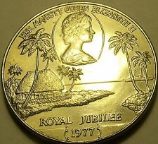 Samoa 1977 Tala UNC~Rare 27,000 Minted~The Queens Silver Jubilee~Palm Trees~Fr/S