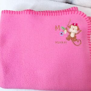 Garanimals M is for MONKEY Baby Blanket Security Lovey dark hot Pink Fleece