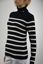 Ralph Lauren Black & White Stripes Ribbed Turtleneck Sweater -Large- NWT