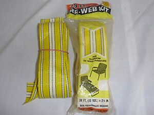 Pk of 38'  Vtg Yellow White Lawn Chair Replacement Webbing + Extra