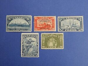#202-204, #208-209 MH (#204 uNG)  5 popular, beautiful Canadian stamps  HCV