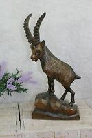 Vintage german black forest wood carved deer goat animal 1960