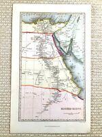 1845 Antik Hand- Farbig Map Of 19th Jahrhundert Ägypten Ägyptische Die Red Sea