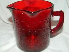 RUBY RED 3 SPOUT 1-CUP GRADUATED MARKINGS-LEFT OR RIGHT HAND~GLASS MEASURING CUP