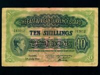 East Africa:P-29a,10 Shillings,1941 * King George VI * 3 Signs Type *