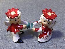 Vintage 1950s Pixie Elves; Boy & Girl Poinsettia Holly Angel Candle Hugger