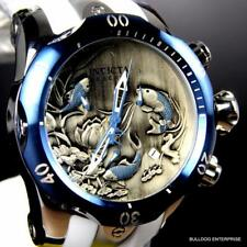 Mens Invicta Reserve Venom Koi Fish Swiss White Silicone 52mm Blue Watch New