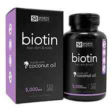 Biotin 5000mcg w/ Coconut Oil for Hair Growth, Skin and Strong Nails 120 Caps