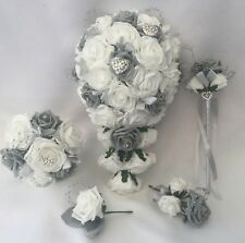 Wedding Bouquet Grey Flowers Heart Bride Bridesmaid Flower Wand