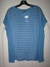 NWT $135 VINCE Knit Linen Blue & White Stripe Top Size XS
