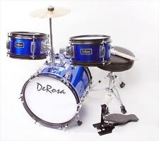 De Rosa DRM312-BU 12 in. Kids Children Drum Set in Blue - 3 Piece Set