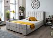 Grey Plush Velvet Bed + Memory Foam Mattress, 4FT6 Double & 5FT King Size