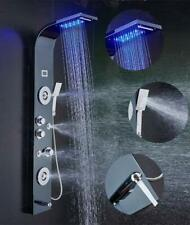 ELLO&ALLO Brushed Black Shower Panel Tower LED Rain Waterfall Massage System
