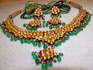 22 KT with Diamonds, Emerald and Ruby Necklace and Earring Set Appraised $62600