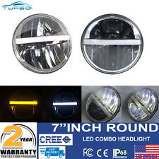 "7"" ROUND CHROME LED HEADLIGHTS WITH CENTER DRL AND TURN SIGNAL LH&RH HEADLAMPS"