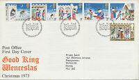 2414 1973 Christmas set (Good King Wenceslas) with se-tenant strip on fine FDC