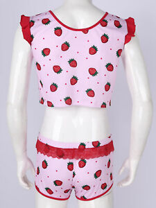 2Pcs Sexy Men Strawberry Print Casual Outfit Set Round Neck Top+Shorts Sleepwear