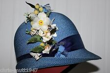 LADIES AIRY VTG PEACOCK BLUE ALDOLPHO II POLY STRAW HAT & VTG RICH'S HAT BOX LOT