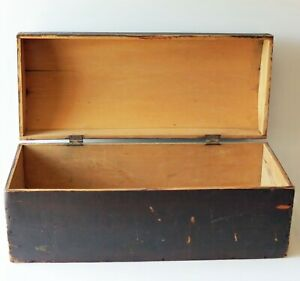 """Early Dome Top Box in Old Paint  28""""x12""""x12"""" ,19th c"""