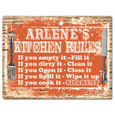 Ppkr0225 Arlene'S Kitchen Rules Plate Chic Sign Home Kitchen Decor Gift ideas