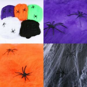 Halloween Spider Web 2 Spiders Stretchable Fake Cobweb Spooky Scene Party Decor!