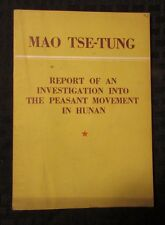 1953 Report Investigation Into Peasant Movement of Hunan by Mao Tse Tung VG+ 64p