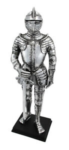 Silver Finish Medieval Knight In Armor Statue Figure Armour
