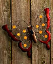 SOLAR WALL BUTTERFLY LIGHT SCULPTURE Fence Gate Patio Porch Deck Balcony Tree