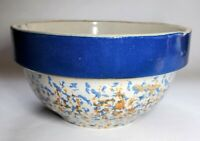 Vintage Spongeware Bowl Blue & Brown with Blue Band Rim 7 Inch