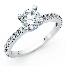 14k Solid White Gold 1.25 ct Brilliant Round Simulated Diamond Engagement Ring