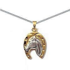 PENDENTIF CHEVAL P OR + ARGENT NEUF + CHAINE G 45cm