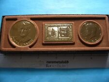 1980-D KENNEDY JFK HALF DOLLAR GOLD TRIM WITH STAMP AND COIN COMMEMORATIVE SET