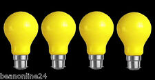 4 Pack YELLOW Coloured Bayonet Party / Festoon Light Globes 25W B22