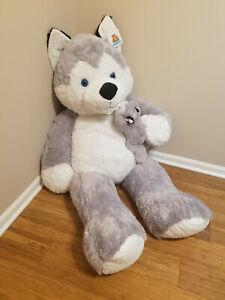 "51"" Husky Giant Stuffed Animal Jumbo Dog Wolf Plush Goffa Large White Teddy Bear"
