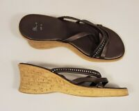 Bhs size 4 (37) brown faux leather diamante stone wedge heel strappy sandals