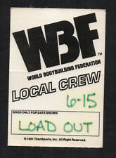 WBF World Bodybuilding Federation 1991 Local Crew Satin Backstage Pass