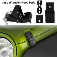 For Jeep Wrangler JK 2007-2017 Black Metal Locking Hood Lock Catch Latches Kit