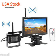"US Stock 7"" Monitor+Wireless Rear View Reverse Camera Kit For RV Truck Bus Van"