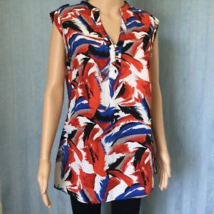 MILLERS Womens Top Tunic Red Ladies Size 14 Sleeveless V neck Orange Blue Black