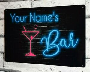 Bar Sign Neon Style Personalised Home Bar Pub Shed Garage Large Metal Sign