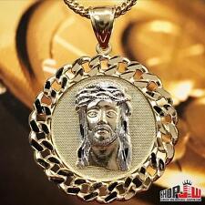 Mens Real 10k Yellow Gold Cuban Link Bezel Jesus Piece Hip Hop Pendant Medallion