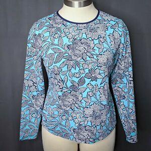 Lands End Womens Rashguard Top Shirt Large Blue Floral Long Sleeve Nylon