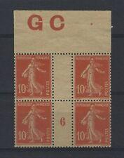 France Yvert n° 138 Bloc de 4 millésime 6 neuf sans gomme GC