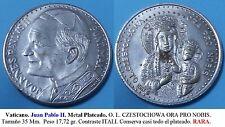 Juan Pablo II. Metal Plateado. O. L. CZESTOCHOWA ORA PRO NOBIS. Tamaño 35 Mm.