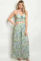 Misses Green Floral Top and Shorts with Maxi Skirt Set SZ Medium NEW