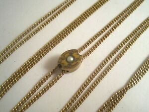 ANTIQUE Vintage GOLD FILLED WATCH CHAIN w/SEED PEARL ETCHED SLIDE