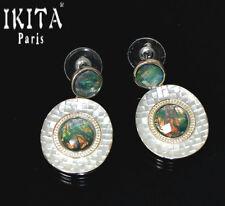 Luxus Ohrringe Ohrstecker Ikita Paris Ohrschmuck Versilbert Emaille Glas Reflex