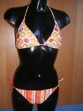 New Orange Bikini UK 10 Halter Neck Striped Spotted No Padding + Tie Side Bottom