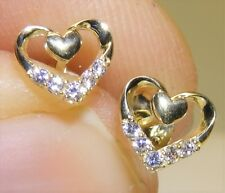 9CT DIAMOND  HEART STUD EARRINGS BUTTERFLY BACKS TRUE  LOVE 9 CARAT YELLOW GOLD